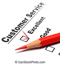 customer service - checkbox and red pen showing customer ...