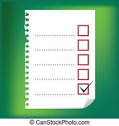 checkbox, -, anteckningsblock, uppe, illustration, papper, nära