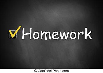 checkbox, comprobado, deberes, en, pizarra