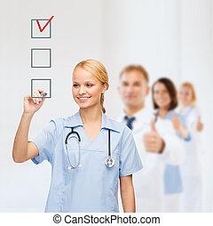 checkbox, docteur, checkmark, ou, infirmière, dessin