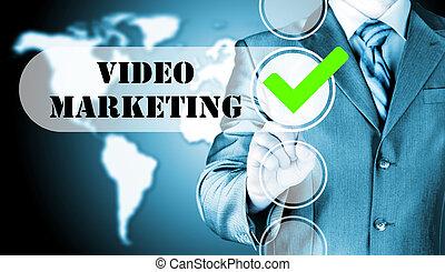 checkbox, geschaeftswelt, marketing, drücken, video, mann