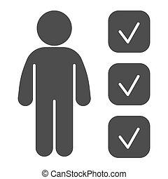 checkbox, icon., personne, toile, style, pictogramme, essai, graphics., concept, candidat, mobile, solide, personnalité, revue, marqueur, formulaire, blanc, design., vecteur, arrière-plan., application, glyph