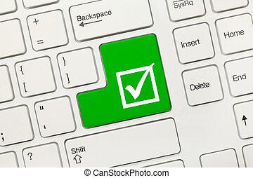 checkbox, -, key), teclado, conceptual, blanco, garrapata, (...