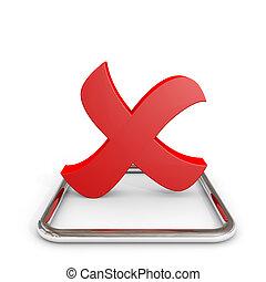 checkbox., króm, kereszt, megjelöl, piros, 3