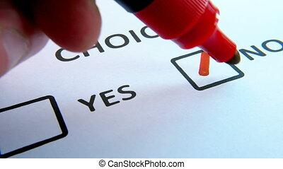 checkbox, met, haut, papier, marqueur, fin, blanc, tique, rouges