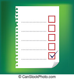 checkbox, -, notatnik, do góry, ilustracja, papier, zamknięcie