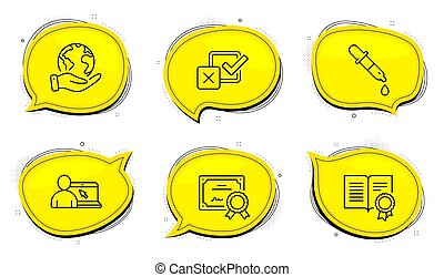 Checkbox, Online education and Diploma icons set. Chemistry pipette sign. Vector
