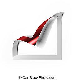 checkbox, pictogram, met, rood, hoek, ineengevouwen