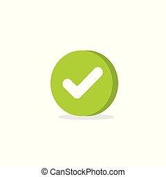 checkbox, pictogram, segno, marchio, assegno, zecca, controllato, clipart, checkmark, isolato, forma, corretto, 3d, scelta, bianco, simbolo, cartone animato, icona, o, vettore, verde, rotondo