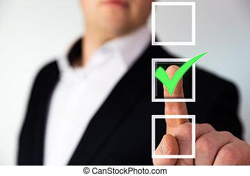checkbox, poussée bouton, vert, tick., homme affaires