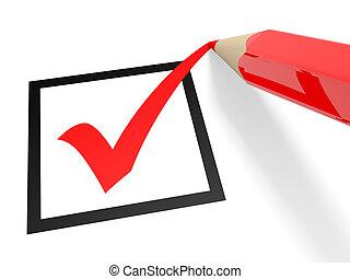 Checkbox - Red tick in checkbox and pencil. Vote. 3D...