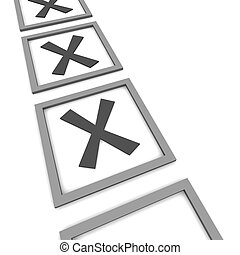 Checkboxes isolated on white. 3d rendered illustration.
