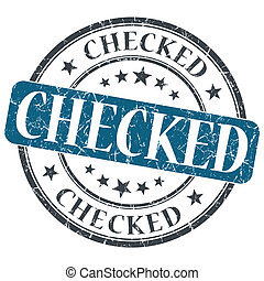 Checked blue round grungy stamp isolated on white background