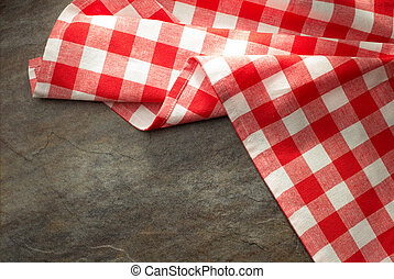 checked cloth napkin at table