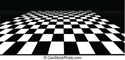 checked black and white floor backdrop illustration