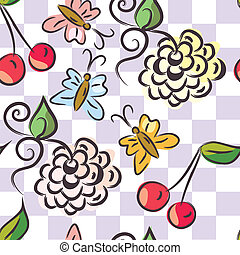 Checked floral seamless pattern cartoon
