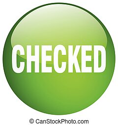 checked green round gel isolated push button
