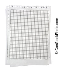 Checked notepad pages stacked. Isolated on white with clipping path.
