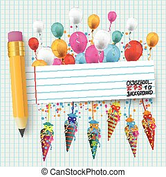 Checked Paper Balloons Banner Pencil Candy Cones - Checked...