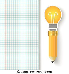 Checked Paper Bulb Pencil
