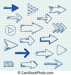 Checked Paper Handdrawn Arrows Set