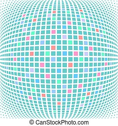 Multicolor mosaic tiled checked pattern in spherical shape. Vector art.