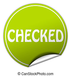 checked round green sticker on white background