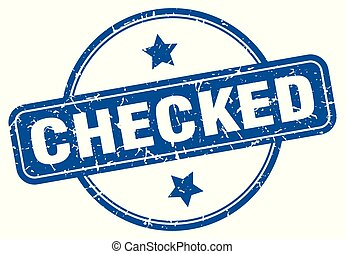 checked round grunge isolated stamp