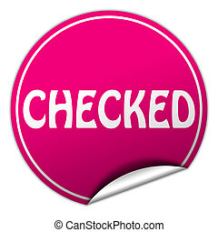 checked round pink sticker on white background