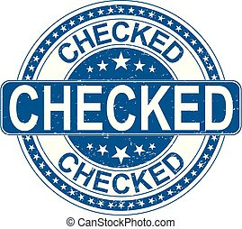 checked rubber stamp internet sign on white background