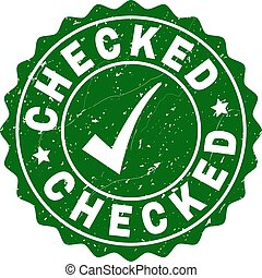 Checked Scratched Stamp with Tick