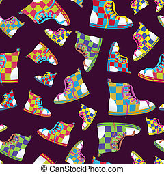 Checked sneaker seamless pattern