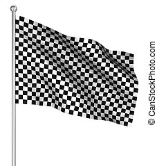 Checked start flag , computer generated image. 3d render.