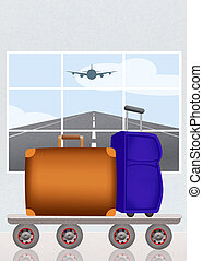 checked suitcase - illustration of checked suitcase