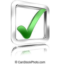Checked Tickbox v - Shiny Tickbox Checked With A Green Check...