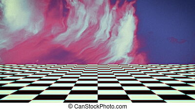 Checker board pattern moving against pink smoke on blue background