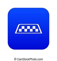 Checker taxi icon digital blue