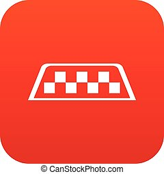 Checker taxi icon digital red