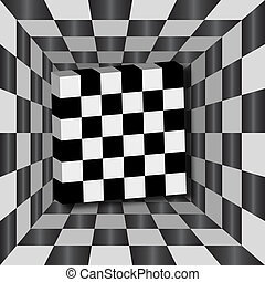 Checkerboard Background - Checkerboard tunnel with 3D cube....