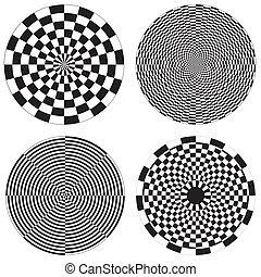 Checkerboard, Dartboard Designs - Four black and white...