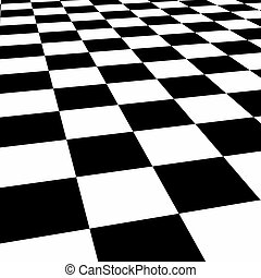Checkerboard Floor Abstract Pattern in Black and White