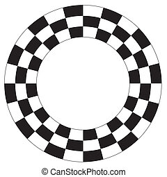 Checkerboard Frame, Spiral Pattern - Black on white frame,...