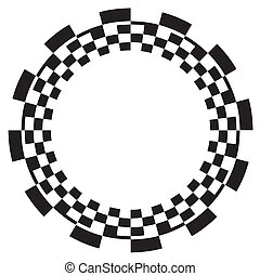 Black on white frame, circle checkerboard spiral design border pattern, copy space. EPS8 compatible.