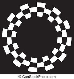 Checkerboard Frame, Spiral Pattern - White on black frame,...