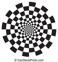 Checkerboard Spiral Design Pattern - Black on white circle...