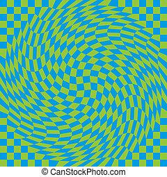checkerboard, warp_blue-green