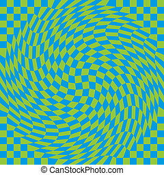 Checkerboard Warp_Blue-Green - Seamless twisted check...