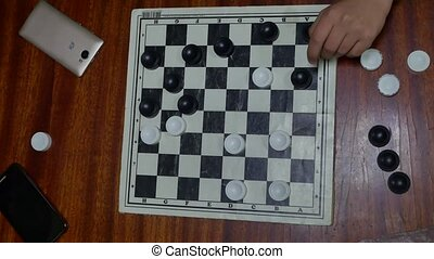 checkerboard with checkers. Game concept. Board game. Hobby....