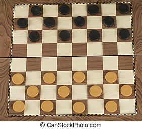 checkerboard with checkers game concept