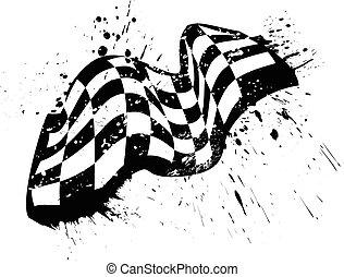 checkered, グランジ, 旗, ベクトル, デザイン, レース